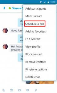 زمانبندی تماس در نرمافزار Skype