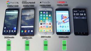 مقایسهی عمر باتری آیفون 8 پلاس، گلکسی نوت 8، pixel 2 xl و وان پلاس 5