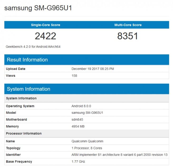 گوشی گلکسی S9 پلاس در پایگاه GeekBench رویت شد