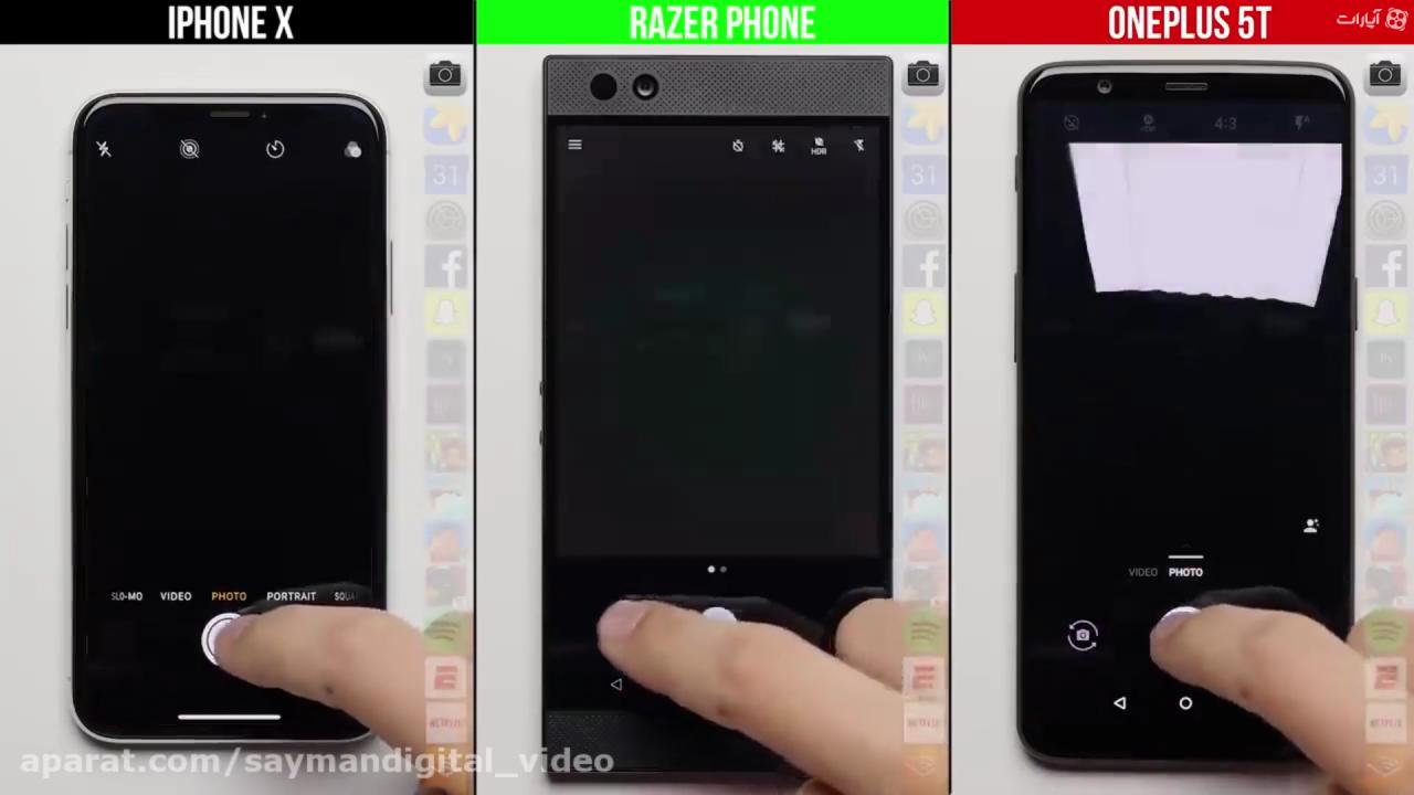مقایسه سرعت وان پلاس 5T با آیفون X و گوشی گیمینگ ریزرفون