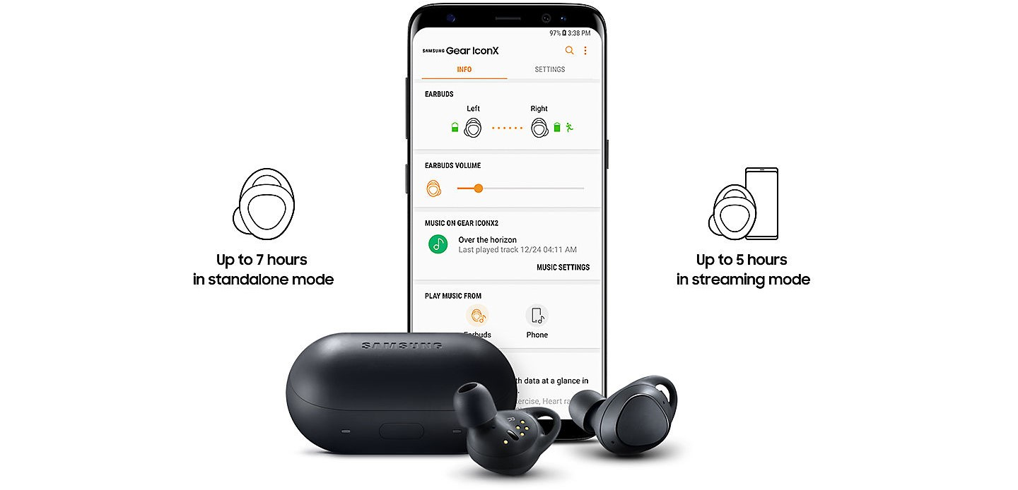 One of the cool features of the IconX is they have onboard memory, almost 4 GB, which allows you to store music right there on these tiny earbuds. This is great if you want to go running — or practice any long-distance sport — and don't want to bring your phone with you. In this mode, the IconX 2018 can actually go for up to 7 hours non-stop.