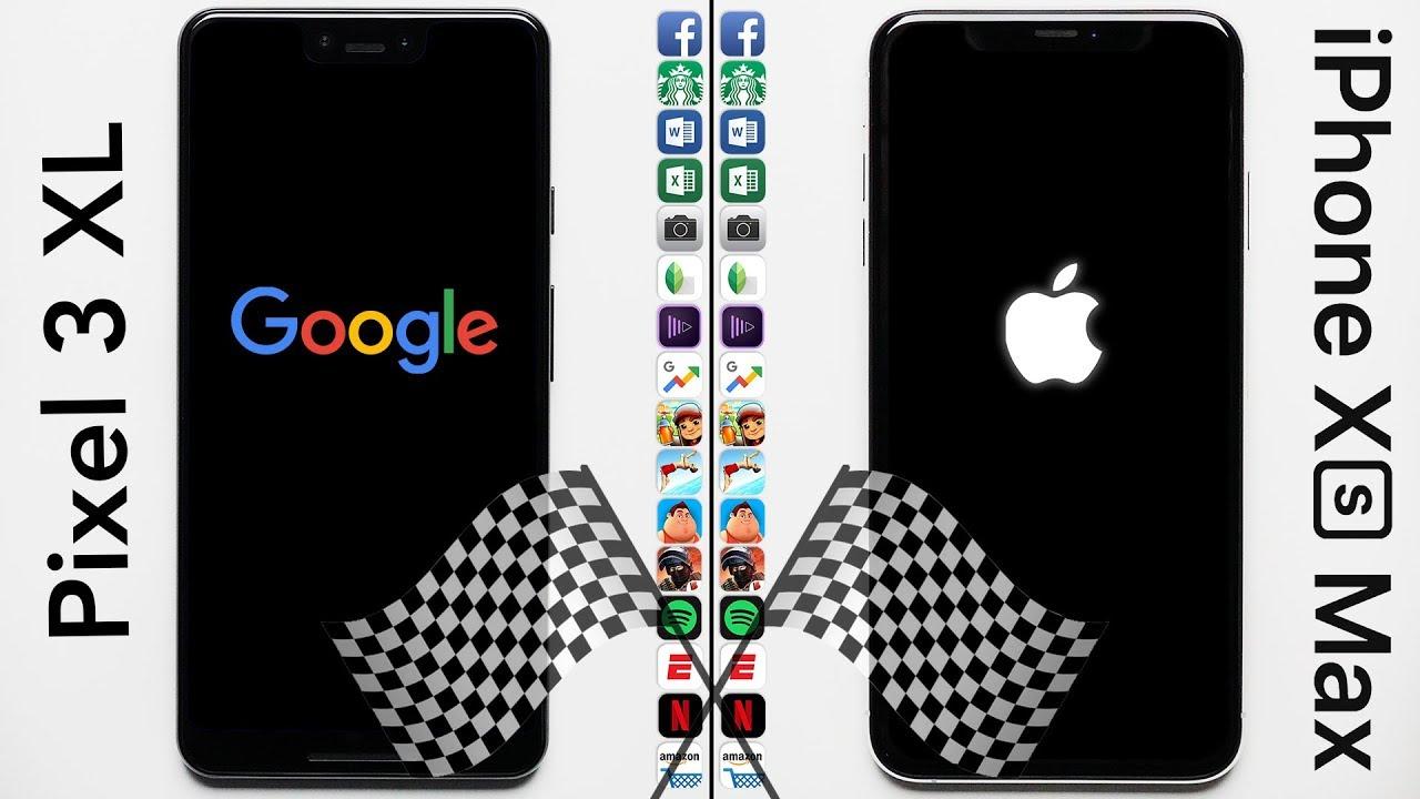 ویدئو تست سرعت آیفون XS Max با پیکسل 3XL