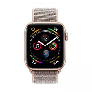 2Apple Watch Series 4 Gold Aluminum Case with Pink Sand Sport Loop 44mm
