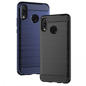 For Huawei Y9 2019 Case Luxury Soft Armor TPU Silicone Cover Carbon Fiber Phone Case For