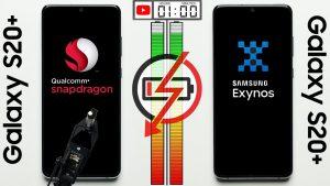 مقایسه باتری نسخه اگزینوس و اسنپدراگون