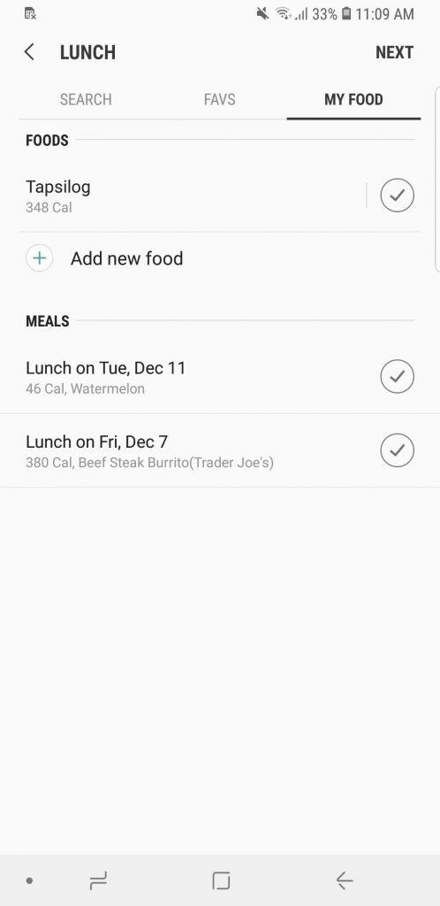 اضافه کردن غذا به برنامه سامسونگ health