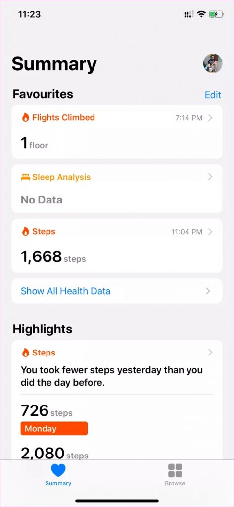 صفحه اصلی برنامه اپل health