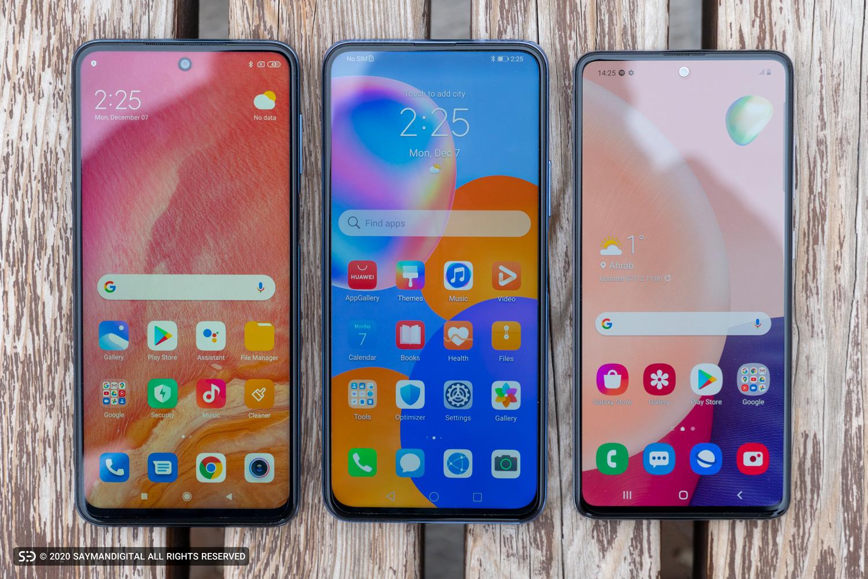 نمایشگر سه گوشی در مطلب بهترین میان رده های بازار