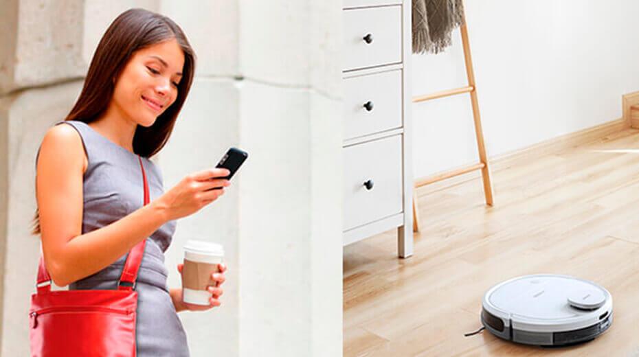 تصویر کنترل جاروبرقی رباتی از طریق گوشی هوشمند