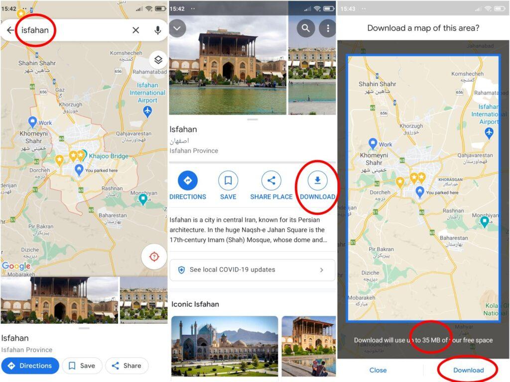 مراحل دانلود نقشه در راهنمای استفاده از گوگل مپ