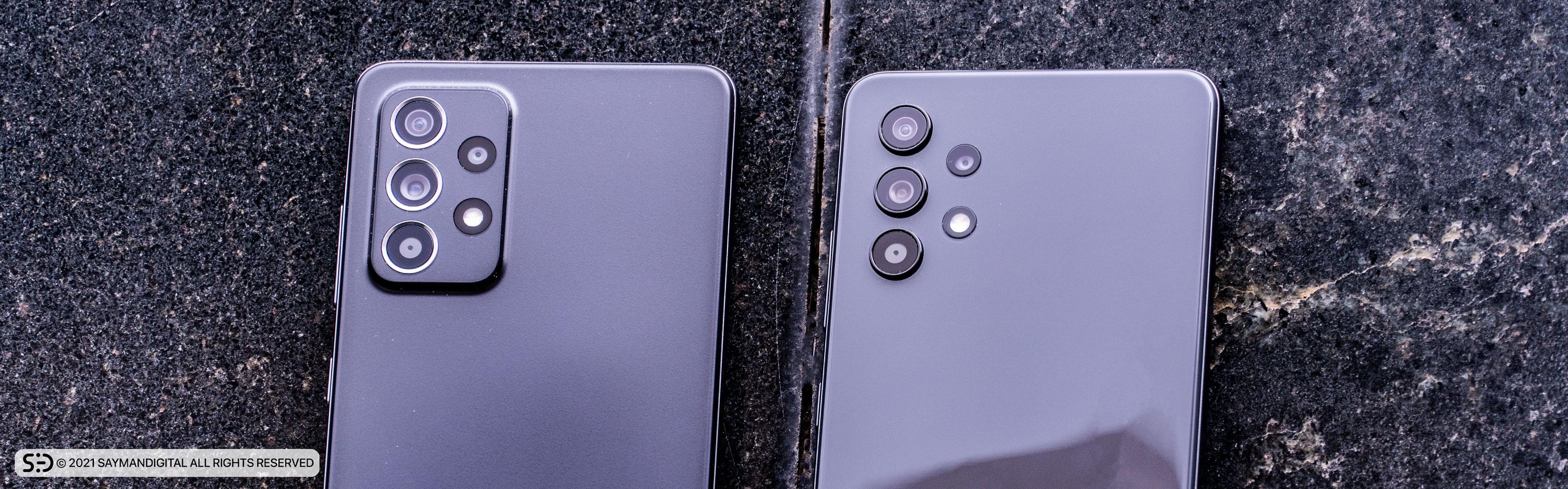 مقایسه طراحی دوربین A32 و A52 در مطلب بررسی گلکسی A32