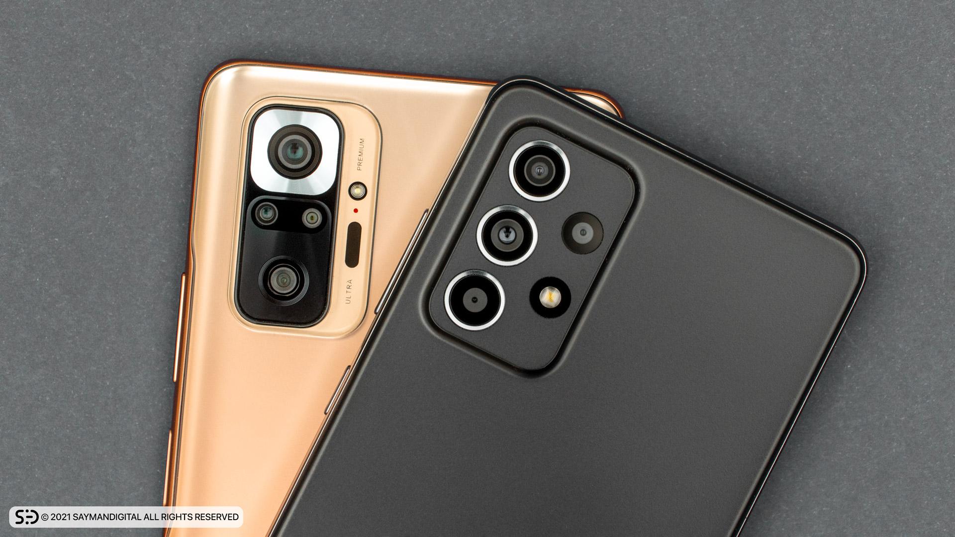 مقایسه چیدمان لنز دوربینهای دو گوشی - redmi note 10 pro یا a52