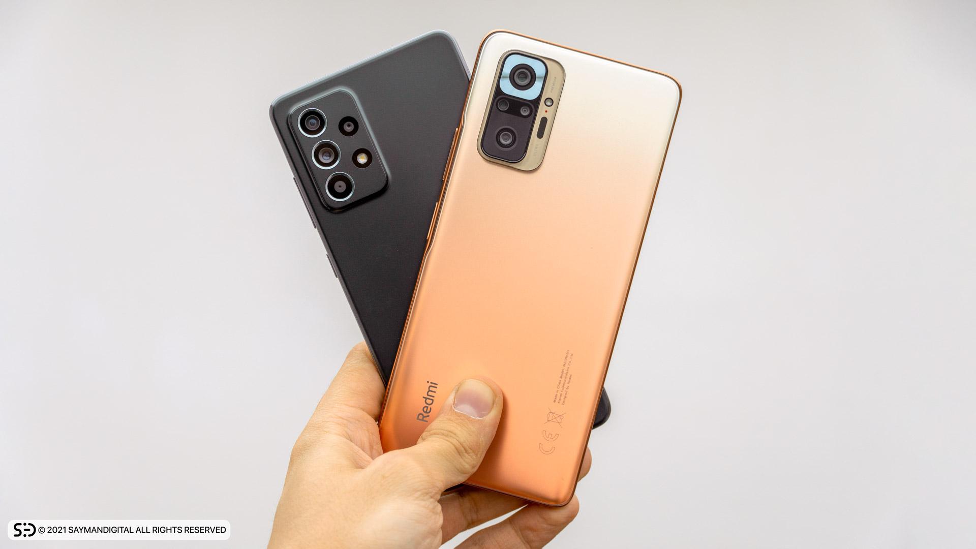 مقایسه طراحی قاب پشتی دو گوشی - redmi note 10 pro یا a52